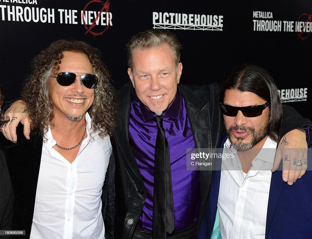 Kirk Hammett, James Hetfield, and Robert Trujillo of Metallica attend the U.S. Premiere of Metallica Through The Never at the AMC Metreon on September 16, 2013 in San Francisco, California.