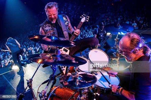 Kirk Hammett James Hetfield Robert Trujillo and Lars Ulrich of Metallica performing at Colisee Pepsi on September 14 2015 in Quebec City Canada