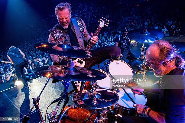 Kirk Hammett James Hetfield Robert Trujillo and Lars Ulrich of Metallica performing at Colisee Pepsi on September 14 2015 in Quebec City Canada