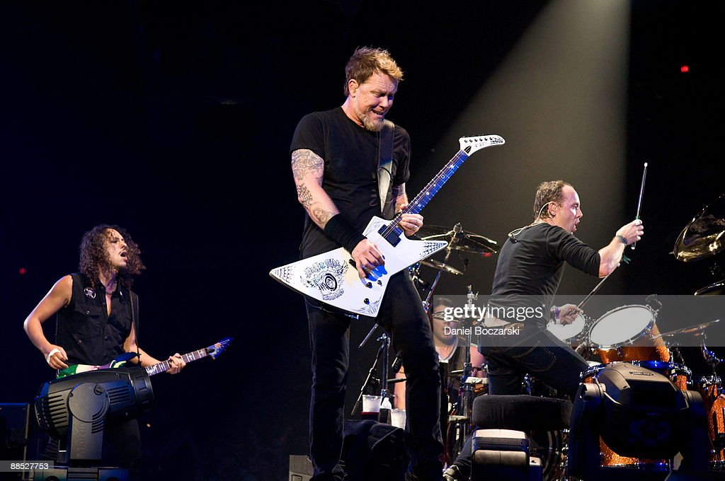Kirk Hammett, James Hetfield, Robert Trujillo and Lars Ulrich of rock band Metallica perform on stage at the Allstate Arena on January 26, 2009 in Rosemont, Illinois.