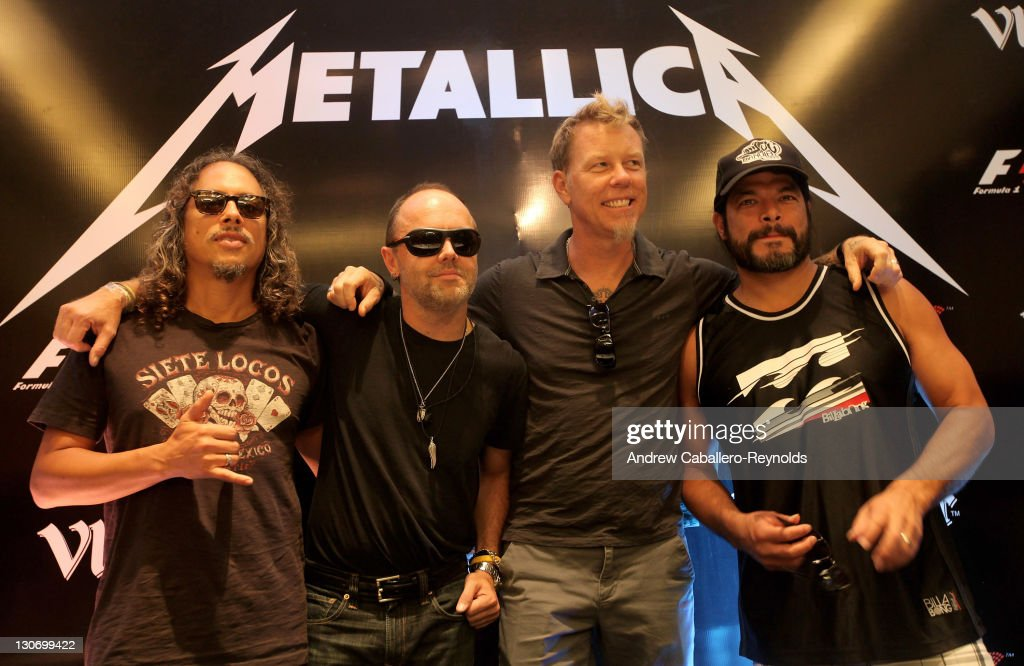 <a gi-track='captionPersonalityLinkClicked' href=/galleries/search?phrase=Kirk+Hammett&family=editorial&specificpeople=204665 ng-click='$event.stopPropagation()'>Kirk Hammett</a> (L), <a gi-track='captionPersonalityLinkClicked' href=/galleries/search?phrase=Lars+Ulrich&family=editorial&specificpeople=209281 ng-click='$event.stopPropagation()'>Lars Ulrich</a> (CL), <a gi-track='captionPersonalityLinkClicked' href=/galleries/search?phrase=James+Hetfield&family=editorial&specificpeople=178297 ng-click='$event.stopPropagation()'>James Hetfield</a> (CR) and <a gi-track='captionPersonalityLinkClicked' href=/galleries/search?phrase=Robert+Trujillo&family=editorial&specificpeople=213071 ng-click='$event.stopPropagation()'>Robert Trujillo</a> (R) from Metallica at the F1 Rocks India Metallica concert press conference on October 28, 2011 in Delhi, India.