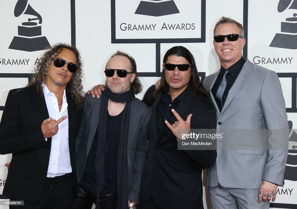 Kirk Hammett, Lars Ulrich, Robert Trujillo, and James Hetfield of 'Metalica' arrive at the 56th Annual GRAMMY Awards at Staples Center on January 26, 2014 in Los Angeles, California.