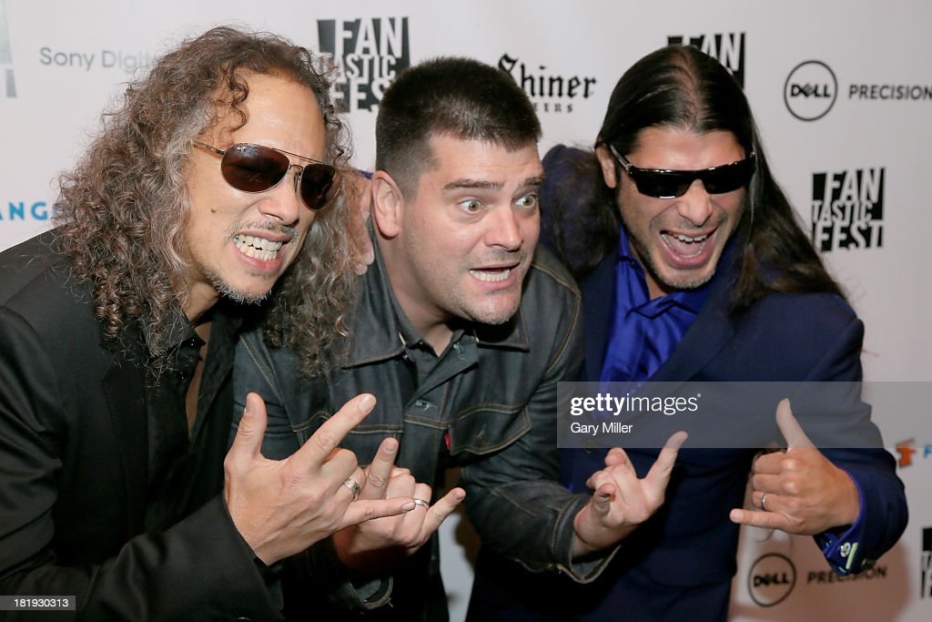 Kirk Hammett Nimrod Antal and Robert Trujillo on the red carpet at the screening of the film 'Metallica Through The Never' during Fantastic Fest at...