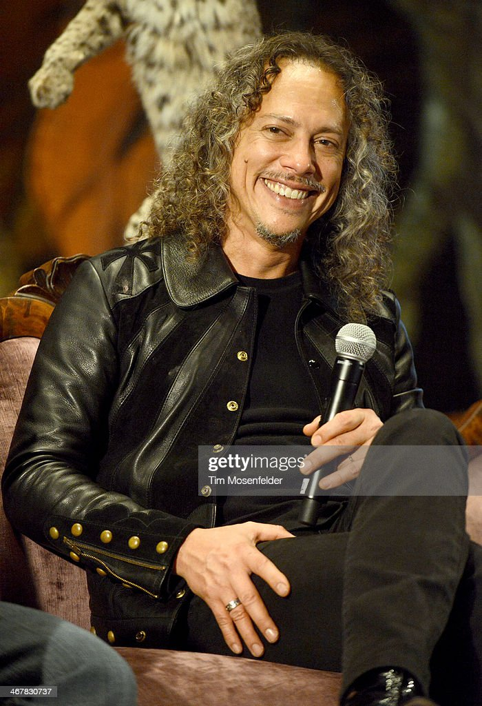 Kirk Hammett of Metallica attends a panel discussion as part of Kirk Von Hammett's Fear FestEvil at the Grand Regency Ballroom on February 7 2014 in...