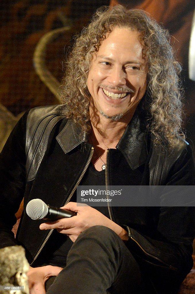 Kirk Hammett of Metallica attends a panel discussion as part of Kirk Von Hammett's Fear FestEvil at Grand Regency Ballroom on February 8 2014 in San...