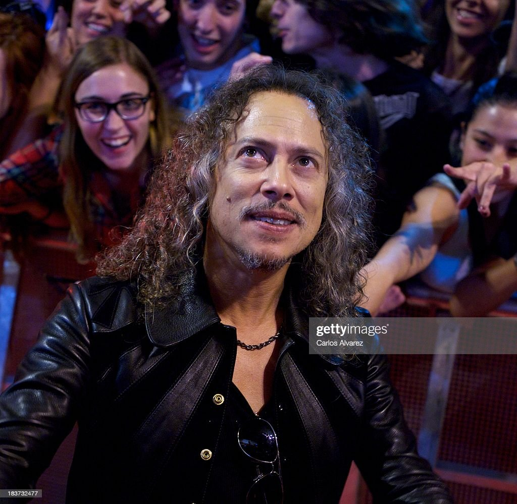 Kirk Hammett of Metallica attends the 'Metallica: Through The Never' premiere at the Callao Cinema ME on October 9, 2013 in Madrid, Spain.