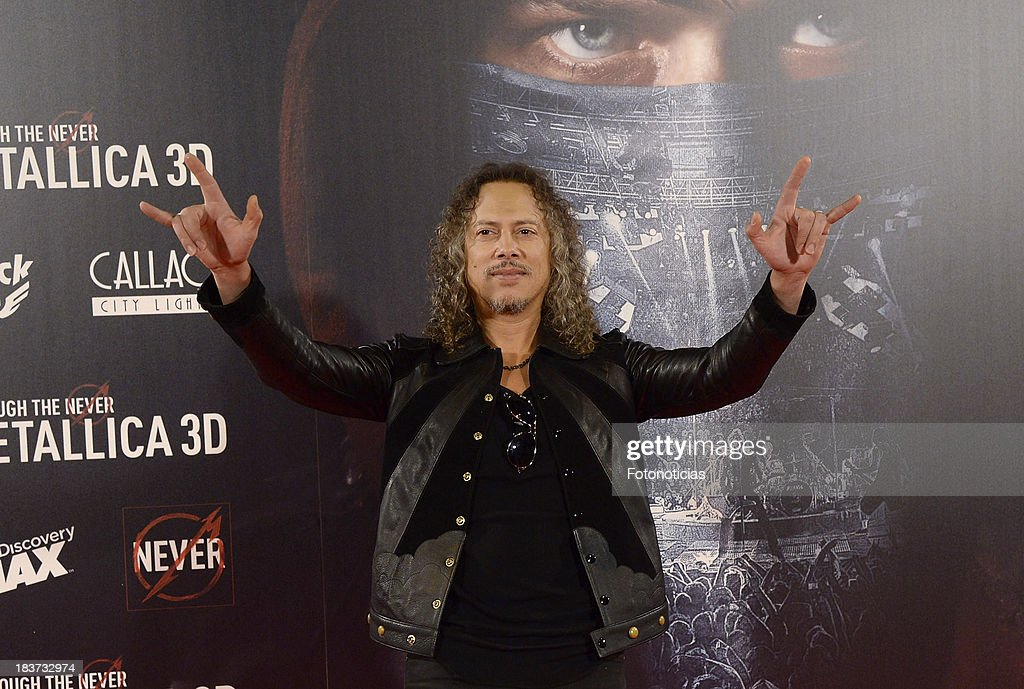 <a gi-track='captionPersonalityLinkClicked' href=/galleries/search?phrase=Kirk+Hammett&family=editorial&specificpeople=204665 ng-click='$event.stopPropagation()'>Kirk Hammett</a> of Metallica attends the premiere of 'Metallica: Through The Never' at Callao cinema on October 9, 2013 in Madrid, Spain.