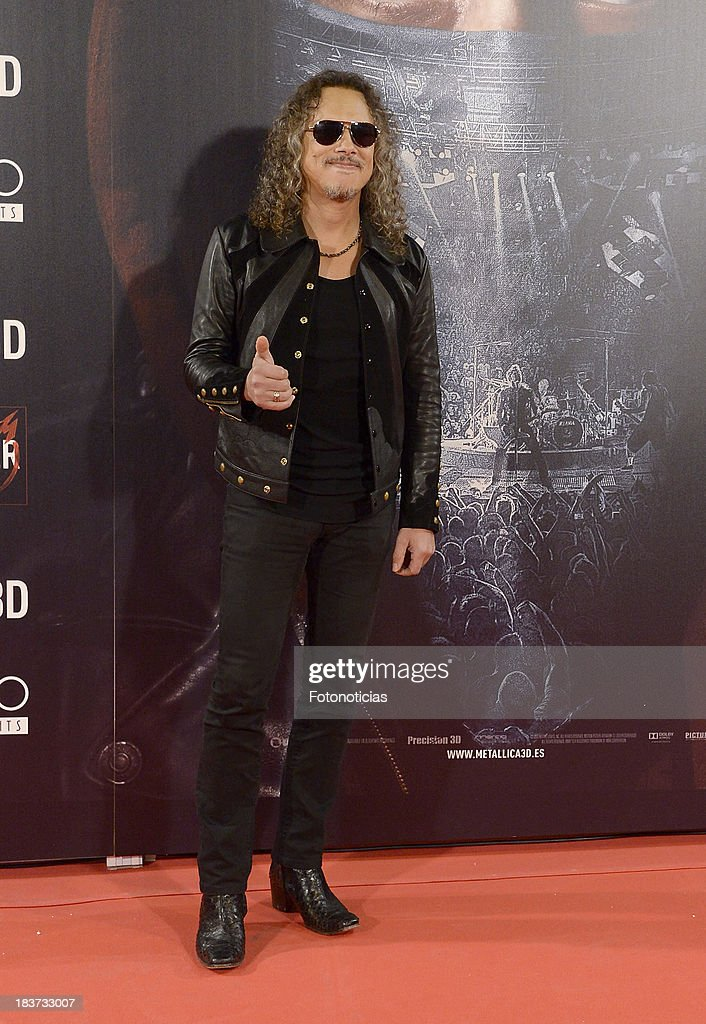 Kirk Hammett of Metallica attends the premiere of 'Metallica: Through The Never' at Callao cinema on October 9, 2013 in Madrid, Spain.