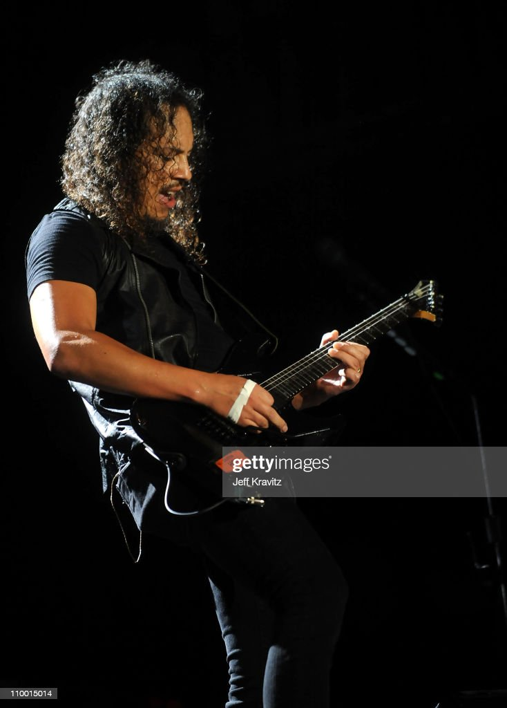 Kirk Hammett of Metallica perform on stage during Bonnaroo 2008 on June 13 2008 in Manchester Tennessee