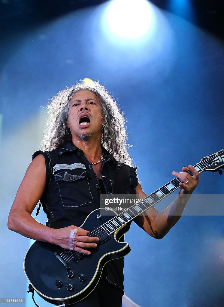 Kirk Hammett of Metallica performs at Day 3 of the Sonisphere Festival at Knebworth Park on July 6 2014 in Knebworth England