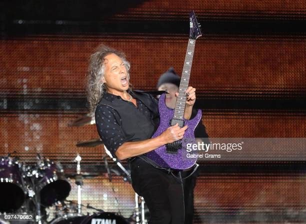 Kirk Hammett of Metallica performs at Soldier Field on June 18 2017 in Chicago Illinois