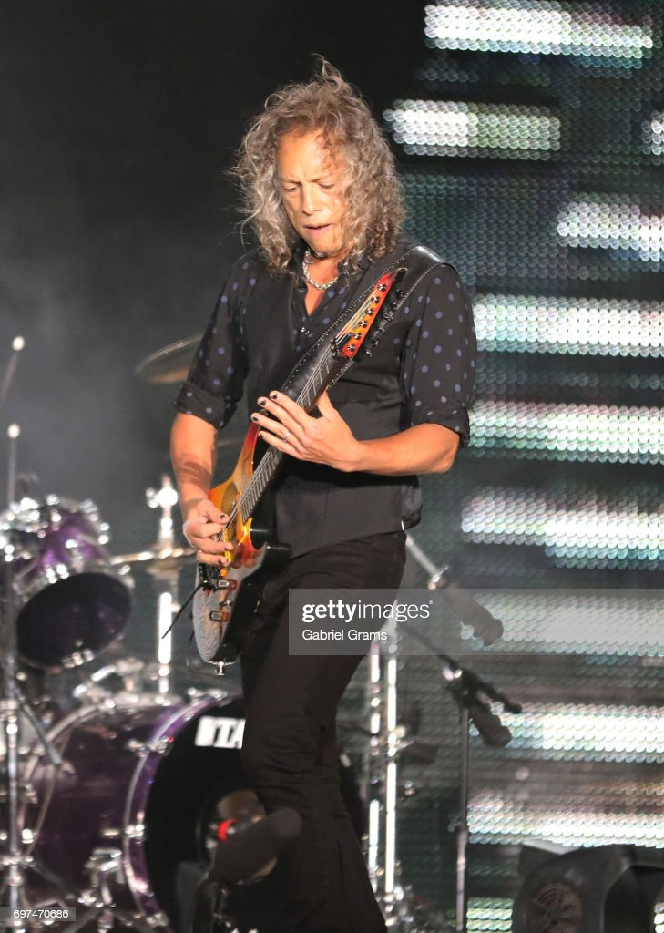 Kirk Hammett of Metallica performs at Soldier Field on June 18, 2017 in Chicago, Illinois.
