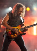 Kirk Hammett of Metallica performs at Yankee Stadium on September 14 2011 in New York City
