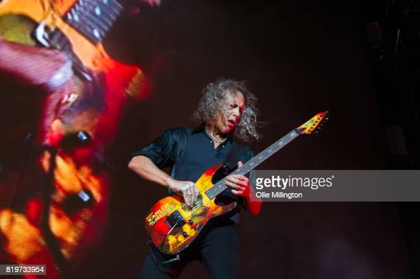 Kirk Hammett of Metallica performs live on stage headlining Day 9 of the 50th Festival D'ete De Quebec on the Main Stage at the Plaines D' Abraham on...