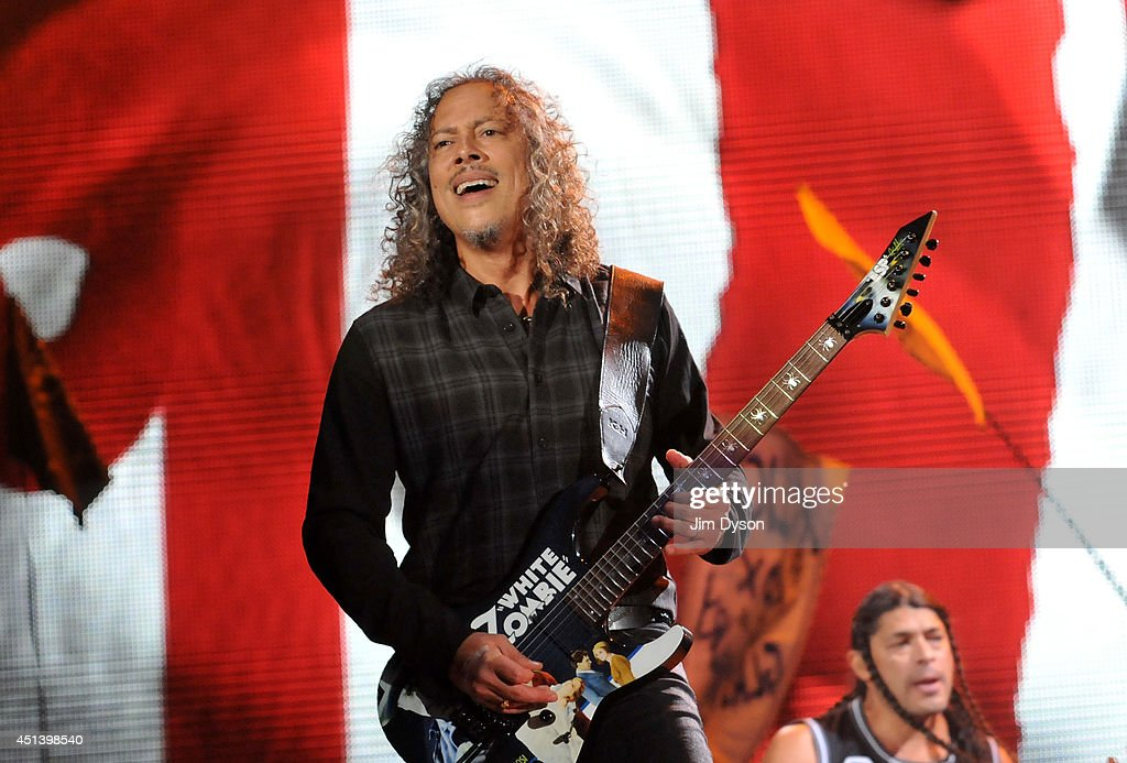 Kirk Hammett of Metallica performs live on the Pyramid stage during day two of the Glastonbury Festival at Worthy Farm in Pilton on June 28 2014 in...