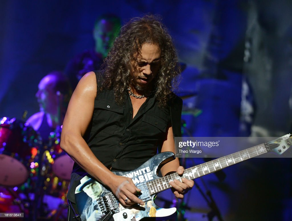 <a gi-track='captionPersonalityLinkClicked' href=/galleries/search?phrase=Kirk+Hammett&family=editorial&specificpeople=204665 ng-click='$event.stopPropagation()'>Kirk Hammett</a> of Metallica performs private, exclusive concert for SiriusXM listeners at The Apollo Theater on September 21, 2013 in New York City.