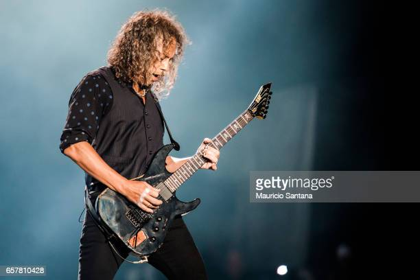 Kirk Hammett of the band Metallica performs live on stage at Autodromo de Interlagos on March 25 2017 in Sao Paulo Brazil