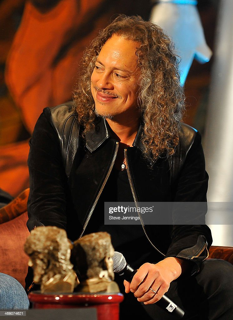 <a gi-track='captionPersonalityLinkClicked' href=/galleries/search?phrase=Kirk+Hammett&family=editorial&specificpeople=204665 ng-click='$event.stopPropagation()'>Kirk Hammett</a> speaks on the panel at Kirk Von Hammett's Fear FestEvil at Grand Regency Ballroom on February 8, 2014 in San Francisco, California.