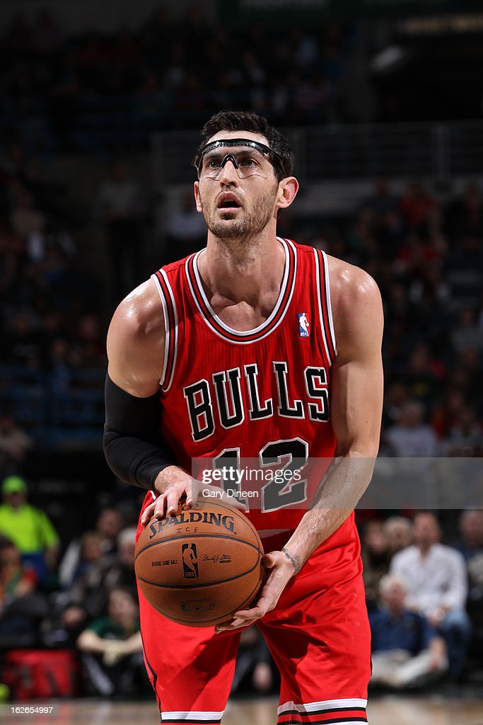 <a gi-track='captionPersonalityLinkClicked' href=/galleries/search?phrase=Kirk+Hinrich&family=editorial&specificpeople=201629 ng-click='$event.stopPropagation()'>Kirk Hinrich</a> #12 of the Chicago Bulls attempts a foul shot against the Milwaukee Bucks on January 30, 2013 at the BMO Harris Bradley Center in Milwaukee, Wisconsin.