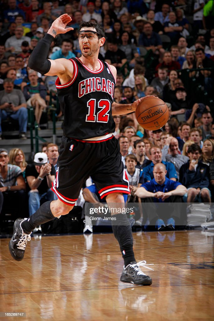<a gi-track='captionPersonalityLinkClicked' href=/galleries/search?phrase=Kirk+Hinrich&family=editorial&specificpeople=201629 ng-click='$event.stopPropagation()'>Kirk Hinrich</a> #12 of the Chicago Bulls brings the ball up court against the Dallas Mavericks on March 30, 2013 at the American Airlines Center in Dallas, Texas.