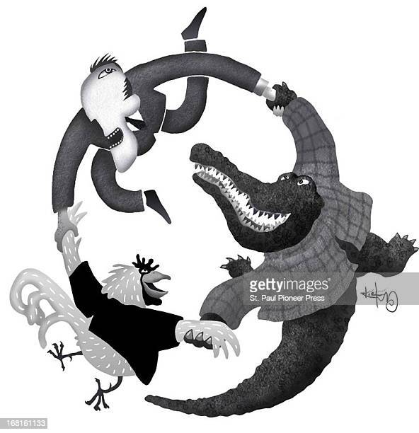 Kirk Lyttle BW illustration of man dancing in circle with alligator chicken Can be used with stories about contract negotiations