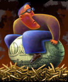 Kirk Lyttle color illustration of a man sitting on his 'nest egg' which has dollar bill imprint on it