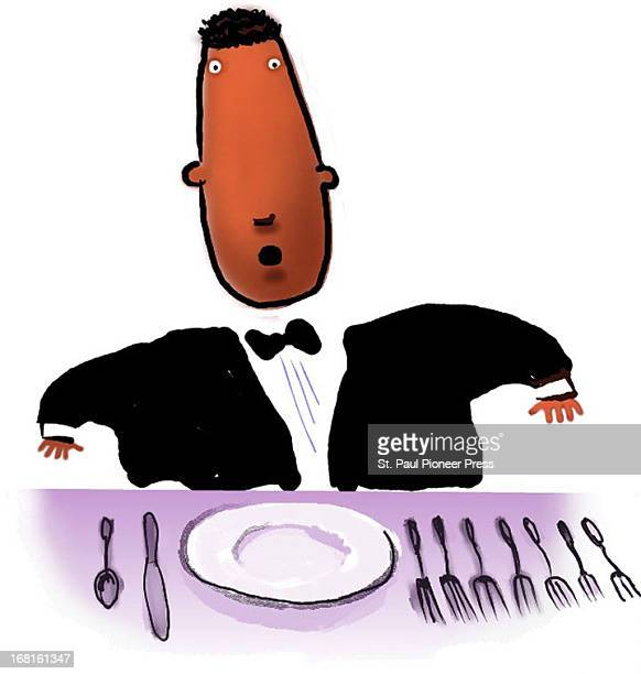 Kirk Lyttle color illustration of befuddled man in a tux trying to decide which of seven forks to use at a fancy dinner