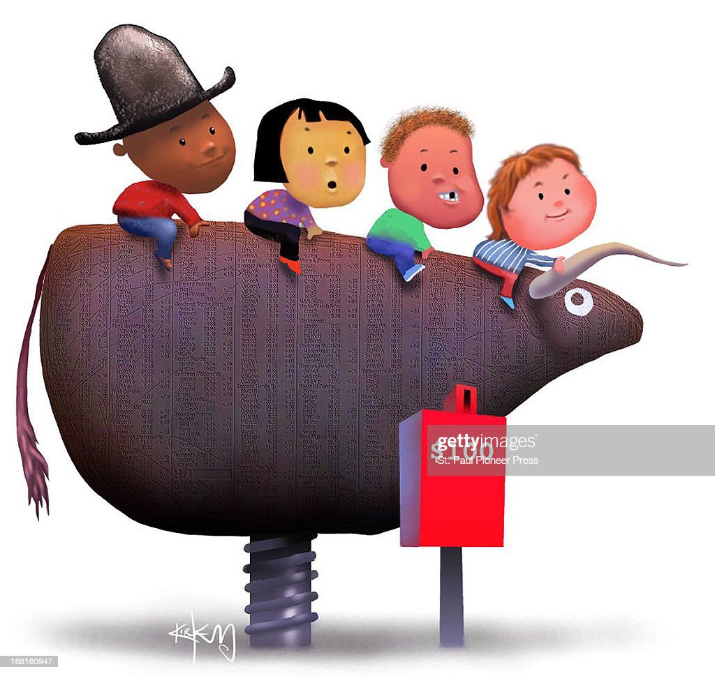 Kirk Lyttle color illustration of four children riding mechanical bull at $100 a ride Can be used with stories about mutual funds for children