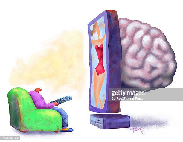 Kirk Lyttle color illustration of man watching huge entertainment center with a 'brain' coming out of the back of it Can be used with stories about...