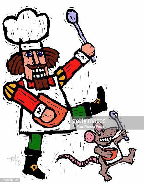 Kirk Lyttle color illustration of nutcracker figure and mouse figure holding bowls spoons