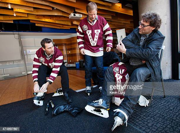 Kirk Mclean Cliff Ronning and Jyrki Lumme members of the 1994 Vancouver Canucks Stanley Cup finals team take their skates off after skating with kids...