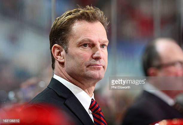 Kirk Muller of the Carolina Hurricanes looks out onto the ice during an NHL game against the Pittsburgh Penguins on February 28 2013 at PNC Arena in...