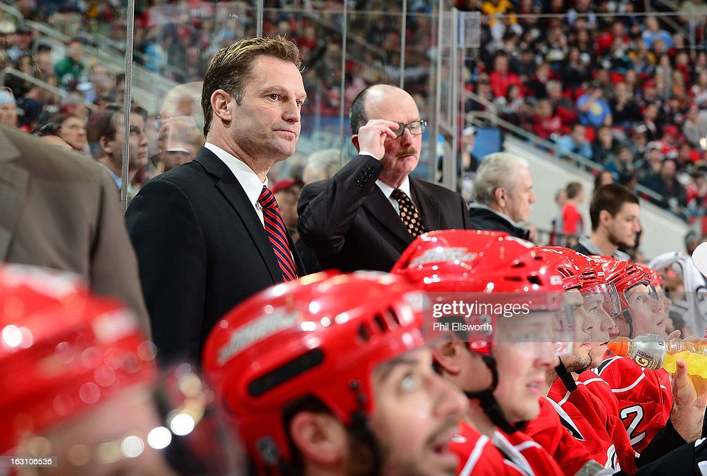 <a gi-track='captionPersonalityLinkClicked' href=/galleries/search?phrase=Kirk+Muller&family=editorial&specificpeople=221687 ng-click='$event.stopPropagation()'>Kirk Muller</a> of the Carolina Hurricanes looks out onto the ice during an NHL game against the Pittsburgh Penguins on February 28, 2013 at PNC Arena in Raleigh, North Carolina.