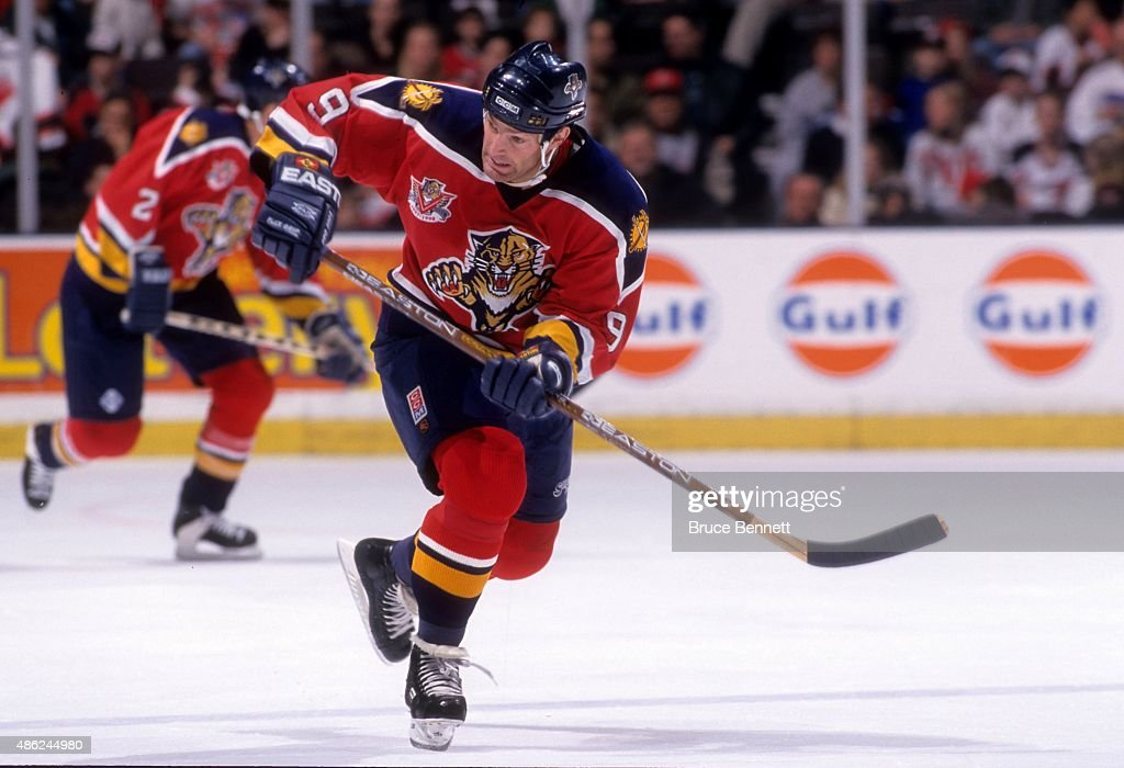 <a gi-track='captionPersonalityLinkClicked' href=/galleries/search?phrase=Kirk+Muller&family=editorial&specificpeople=221687 ng-click='$event.stopPropagation()'>Kirk Muller</a> #9 of the Florida Panthers skates on the ice during an NHL game against the New Jersey Devils on November 22, 1997 at the Continental Airlines Arena in East Rutherford, New Jersey.