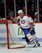 Kirk Muller of the Montreal Canadiens celebrates a goal Circa 1990 at the Montreal Forum in Montreal Quebec Canada