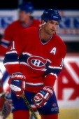 Kirk Muller of the Montreal Canadiens looks on before a hockey game against the Washington Capitals on February 4 1994 at the USAir Arena in Landover...