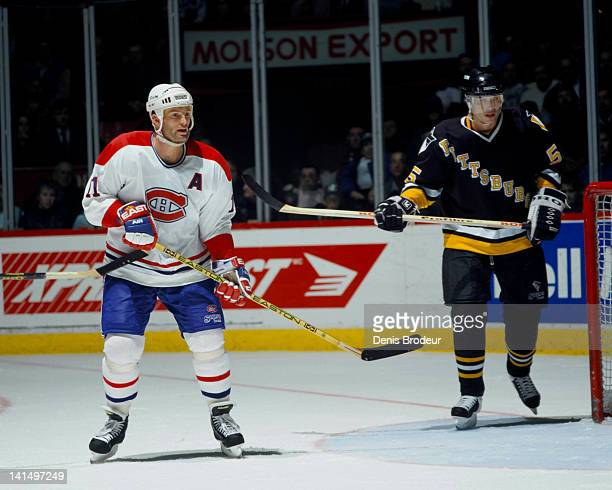 Kirk Muller of the Montreal Canadiens skates against the Pittsburgh Penguins Circa 1990 at the Montreal Forum in Montreal Quebec Canada