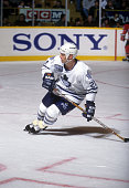 Kirk Muller of the Toronto Maple Leafs skates on the ice during an NHL game against the New Jersey Devils on December 10 1996 at the Maple Leaf...