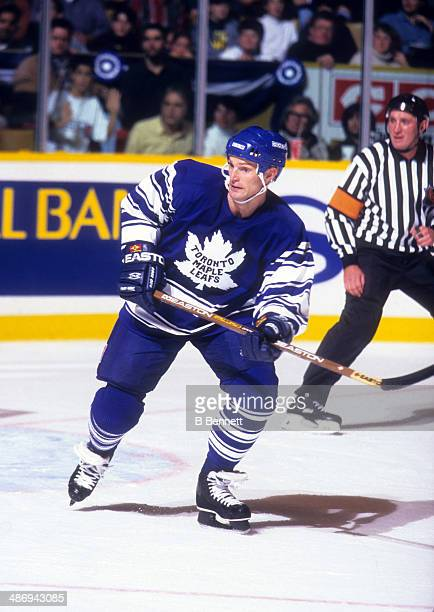Kirk Muller of the Toronto Maple Leafs skates on the ice during an NHL game against the Detroit Red Wings on November 2 1996 at the Maple Leaf...