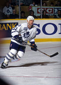 Kirk Muller of the Toronto Maple Leafs skates on the ice during an NHL game against the New York Rangers on December 7 1996 at the Maple Leaf Gardens...