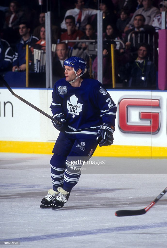 <a gi-track='captionPersonalityLinkClicked' href=/galleries/search?phrase=Kirk+Muller&family=editorial&specificpeople=221687 ng-click='$event.stopPropagation()'>Kirk Muller</a> #21 of the Toronto Maple Leafs skates on the ice during an NHL game against the New York Rangers on December 6, 1996 at the Madison Square Garden in New York, New York.