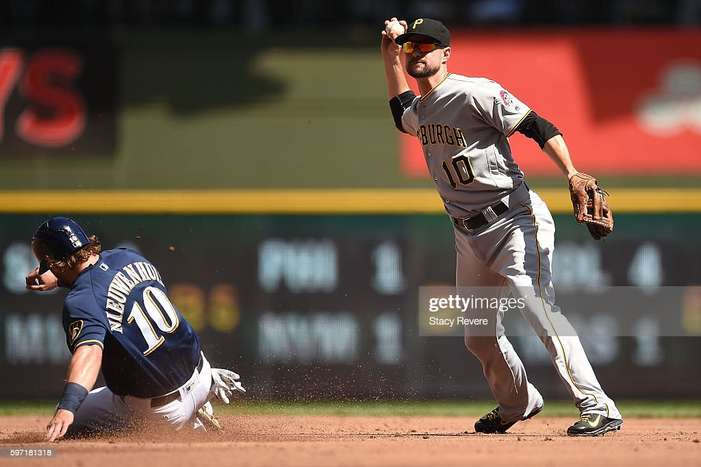 Kirk Nieuwenhuis of the Milwaukee Brewers is out at second base as Jordy Mercer of the Pittsburgh Pirates makes a throw to first base during the...