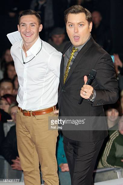 Kirk Norcros with host Brian Dowling is the fourth celebrity to get evicted from Celebrity Big Brother 2012 at Elstree Studios on January 20 2012 in...