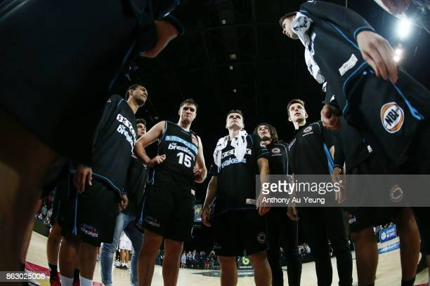 Kirk Penney of the Breakers in the team huddle after winning the round three NBL match between the New Zealand Breakers and the Sydney Kings at Spark...