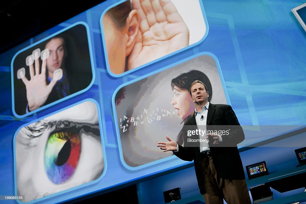 Kirk Skaugen, vice president of PC client group with Intel Corp., talks about 'perceptual computing' during a news conference at the 2013 Consumer Electronics Show in Las Vegas, Nevada, U.S., on Monday, Jan. 7, 2012. The 2013 CES trade show, which runs until Jan. 11, is the world's largest annual innovation event that offers an array of entrepreneur focused exhibits, events and conference sessions for technology entrepreneurs. Photographer: Andrew Harrer/Bloomberg via Getty Images