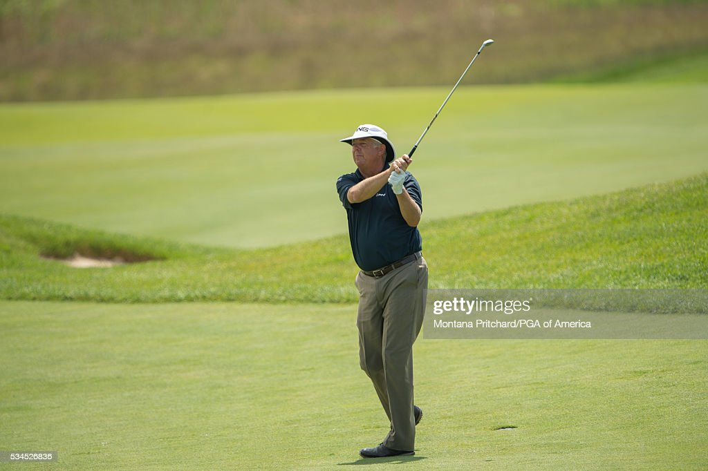 <a gi-track='captionPersonalityLinkClicked' href=/galleries/search?phrase=Kirk+Triplett&family=editorial&specificpeople=216443 ng-click='$event.stopPropagation()'>Kirk Triplett</a> hits his shot on the sixth hole during the first round for the 77th Senior PGA Championship presented by KitchenAid held at Harbor Shores Golf Club on May 26, 2016 in Benton Harbor, Michigan.