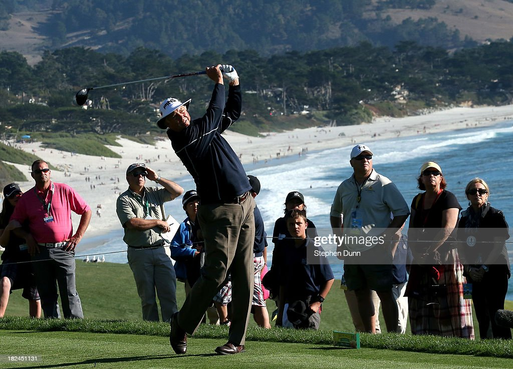 Kirk Triplett hits his tee shot on the 14th hole durng the final round of the Nature Valley First Tee Open at Pebble Beach at Pebble Beach Golf Links on September 29, 2013 in Pebble Beach, California.