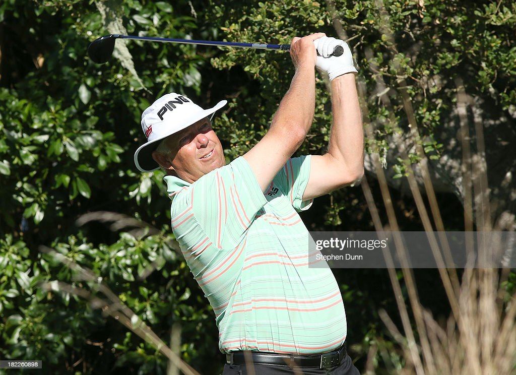 <a gi-track='captionPersonalityLinkClicked' href=/galleries/search?phrase=Kirk+Triplett&family=editorial&specificpeople=216443 ng-click='$event.stopPropagation()'>Kirk Triplett</a> hits his tee shot on the 16th hole durng the second round of the Nature Valley First Tee Open at Pebble Beach at Pebble Beach Golf Links on September 28, 2013 in Pebble Beach, California.