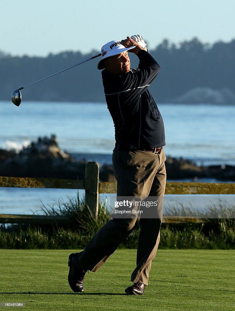 Kirk Triplett hits his tee shot on the 18th hole durng the final round of the Nature Valley First Tee Open at Pebble Beach at Pebble Beach Golf Links on September 29, 2013 in Pebble Beach, California.