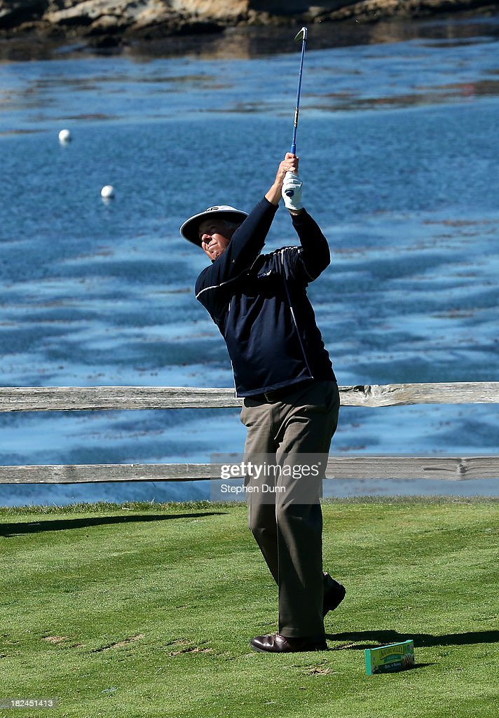 Kirk Triplett hits his tee shot on the seventh hole durng the final round of the Nature Valley First Tee Open at Pebble Beach at Pebble Beach Golf Links on September 29, 2013 in Pebble Beach, California.